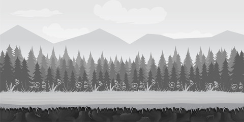 Landscape for game.Background for game. Black and white background.cartoon landscape