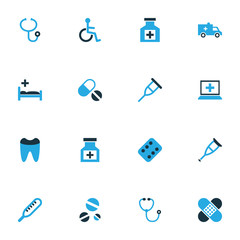Drug Colorful Icons Set. Collection Of Apparatus, Thermometer, Dental And Other Elements. Also Includes Symbols Such As Crutch, Handicapped, Disabled.