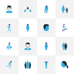People Colorful Icons Set. Collection Of Stairs, Woman, Head And Other Elements. Also Includes Symbols Such As Head, Social, Happiness.