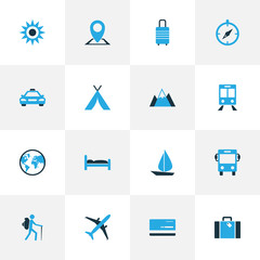 Traveling Colorful Icons Set. Collection Of Map Pin, Earth, Airplane And Other Elements. Also Includes Symbols Such As Pin, Bank, View.