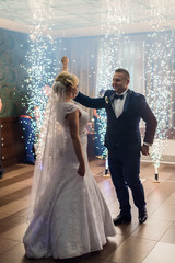 Wedding couple and their first dance
