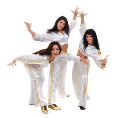 Modern dancer team dancing, isolated on white in full length.