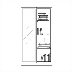 Bookcase with shelves and glass door, home furniture lineart design, hand drawn sketch of single object, interior concept, vector illustration on white background