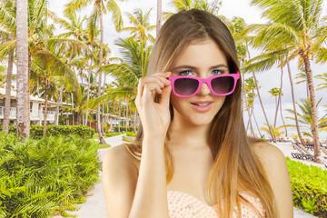Woman on tropical beach
