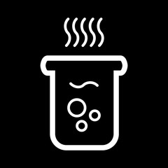 boiling water icon vector. Glass with hot water. On black background