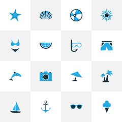 Hot Colorful Icons Set. Collection Of Sunglasses, Swimsuits, Swimming Mask And Other Elements. Also Includes Symbols Such As Melon, Sorbet, Shorts.