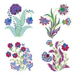 Vector isolated embroidery flowers decorations set. Vintage stitching embroidery fantasy flowers on white background. Beautiful embroidery floral isolated decorative elements