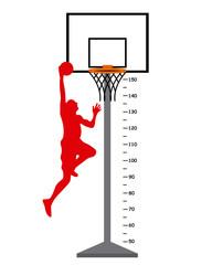 Meter basketball basket with player