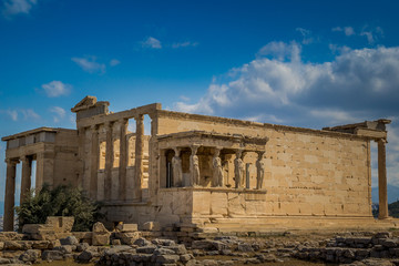 The Porch of the Caryatids at the Erechtheion on the Acropolis of Athens, Greece.