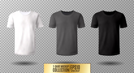 Shirt mock up set. T-shirt template. Black, gray and white version, front design.