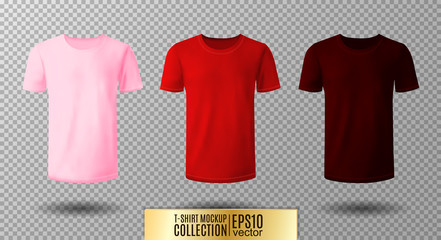 Shirt mock up set. T-shirt template. Pink, red and vinous version, front design.