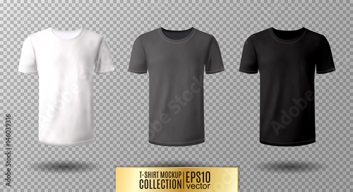 Shirt Mock Up Set T Template Black Gray And White Version