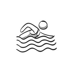 Sketch icon - Man swimming