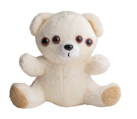 Obraz Weird teddy bear, four eyes. Nightmare and fears metaphor - fototapety do salonu