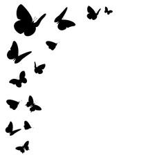Bordüre mit schwarzen Schmetterling Silhouetten