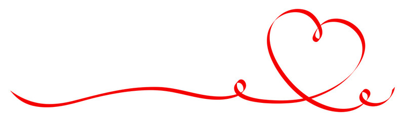 Banner Right Calligraphy Red Heart Ribbon