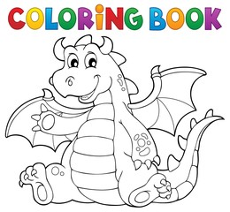 Coloring book dragon theme image 6