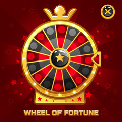 Vector Gold Wheel of Fortune For Ui Game element, background glow