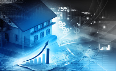 3d house with graph. Real estate growth cart