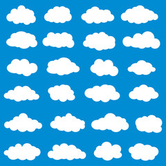 Poster Ciel Clouds set vector. Vector illustration of clouds collection