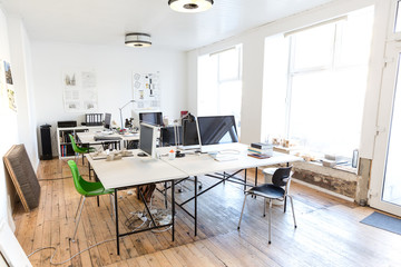 Desk and chairs in architects office