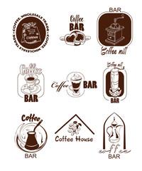 Doodle Coffee Logos Set