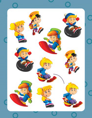 cartoon frame with children doing different activities space for text