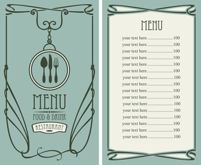 template vector menu for restaurant with price list, flatware and curlicues in baroque style on green background