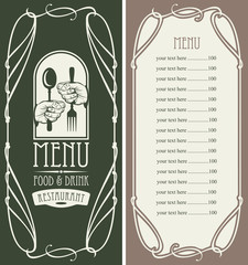 template vector menu for restaurant with price list, cutlery in hands and curlicues in baroque style on dark background