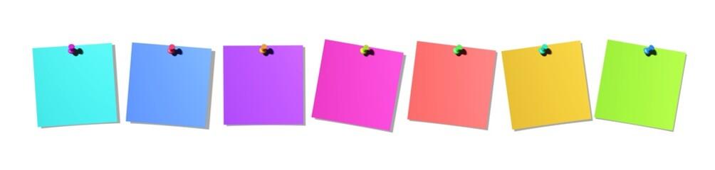 sieben bunte Notizzettel