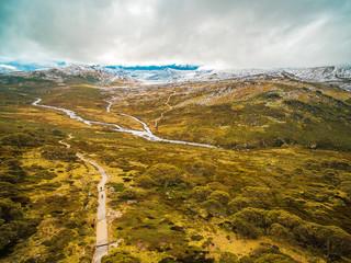 Aerial landscape of Snowy Mountains at Kosciuszko National Park, Australian Alps. Australia