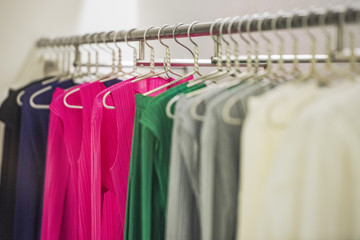 Women fine and colored clothing in a store in London.