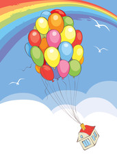 Travel without leaving home / Vector illustration, house flies on a bunch of balloons
