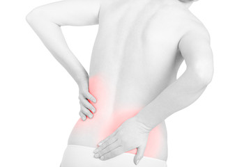Shirtless woman touching her back for the pain, backache red area isolated on white, clipping path