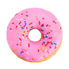 Pink donut closeup