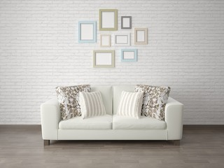 Mock up the living room with a compact sofa on the brick wall background.