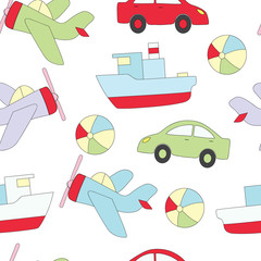 Seamless pattern with children's toys for the boy. A vector picture with a ball, the car, the ship, plane.