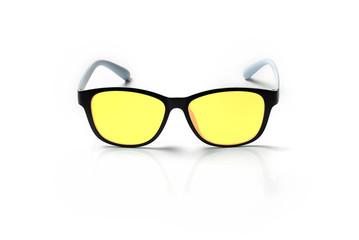 Computer eyeglasses closeup isolated on white background, anti blue light type.