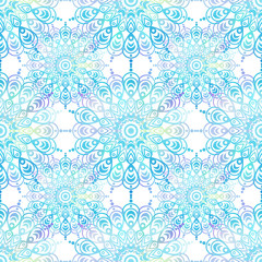 Ethnic boho seamless pattern. Mandala design in oriental style. Bokeh texture.