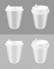 Transparent disposable paper coffee cup