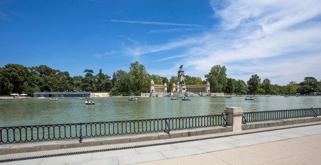 """MADRID, SPAIN - JUNE 25, 2016 - Monument to Alfonso XII in the Parque del Buen Retiro """"Park of the Pleasant Retreat"""" in Madrid, Spain"""