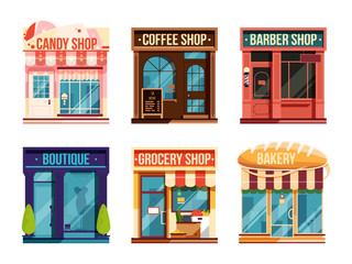 Urban stores set isolate on white background. Business retail. Vector illustration