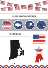 Map of Rhode Island. Set of flat design icons nfographics elemen