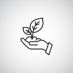 leaf line icon , hand sprout eco vector illustration