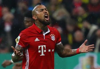 Bayern Munich's Arturo Vidal reacts