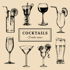 Cocktails menu. Hand sketched alcoholic beverages glasses. Vector set of drinks illustrations, beer, pina colada etc.