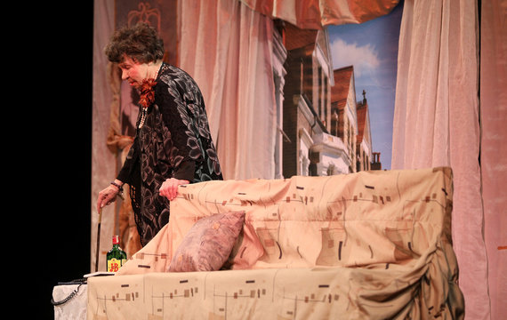 """Bulgarian actress Mutafova plays on stage in """"Mrs Natural Disaster"""" play at """"Tear and Laugh"""" theatre in Sofia"""