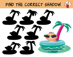 Funny baby in sunglasses. Find the correct shadow. Educational game for children. Cartoon vector illustration