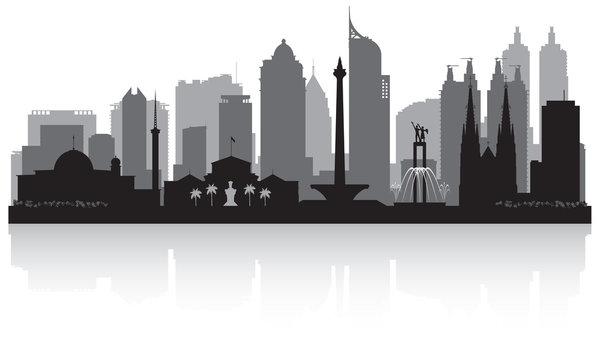 Jakarta Indonesia city skyline silhouette