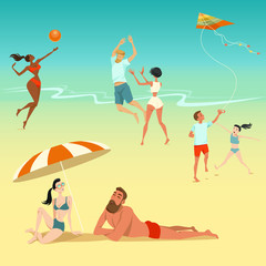Illustration of people relaxing on the beach. Children with a kite. Young people playing volleyball. Sunbathing couple.